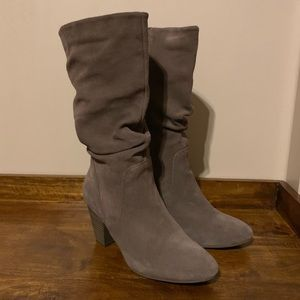 NWOT Sonoma Taupe Suede Slouchy Calf Height Boots